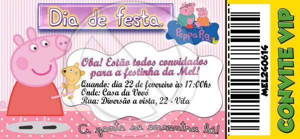 Convite tipo Ingresso - Peppa Pig